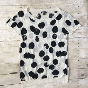 """DKNY Cream Black Spotted """"Cow"""" Super Soft Top"""